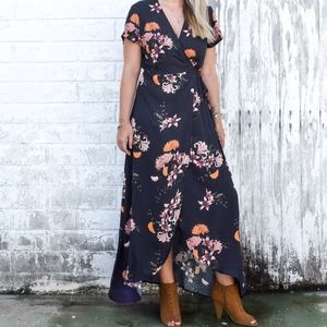 Black Bouquet Wrap Dress